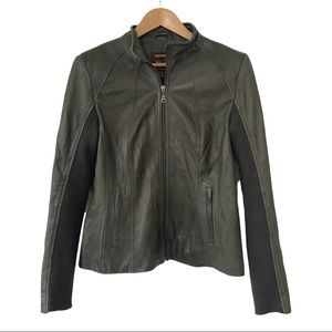 Danier genuine leather zipper coat military green